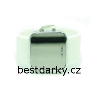 Zrkadlové LED hodinky - biele  8b6bf80b129
